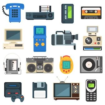 Tecnologías vintage, cámara, teléfono, audio retro, televisor.