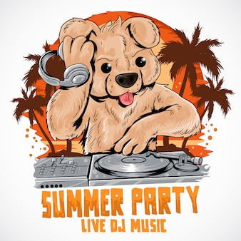 Teddy bear dj music summer party coconut tree