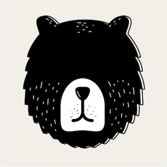 Teddy bear face head badge concept