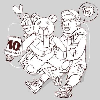 Teddy day line art super lindo amor alegre romántico san valentín pareja citas regalo dibujado a mano ilustración de contorno