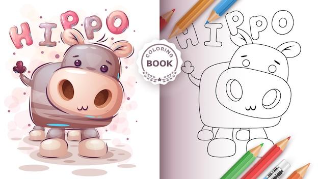 Teddy hipopótamo - libro para colorear para niños y niños