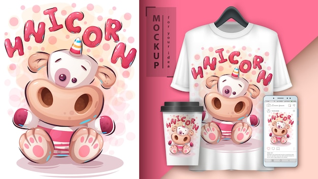 Teddy unicorn poster y merchandising