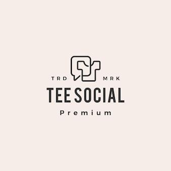 Tee hablar chat social hipster vintage logo