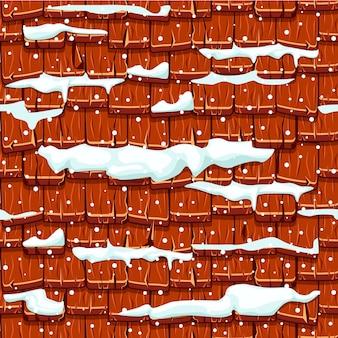 Tejas de madera roja vieja inconsútil cubiertas de nieve del tejado. fondo de piedra de invierno.
