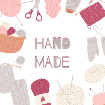 Tejer y coser artes y manualidades marco aislado en blanco.
