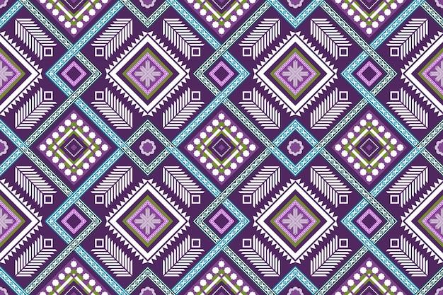 Tejido cruzado azul púrpura étnico geométrico oriental sin fisuras patrón tradicional. diseño de fondo, alfombra, fondo de pantalla, ropa, envoltura, batik, tela. estilo de bordado. vector.