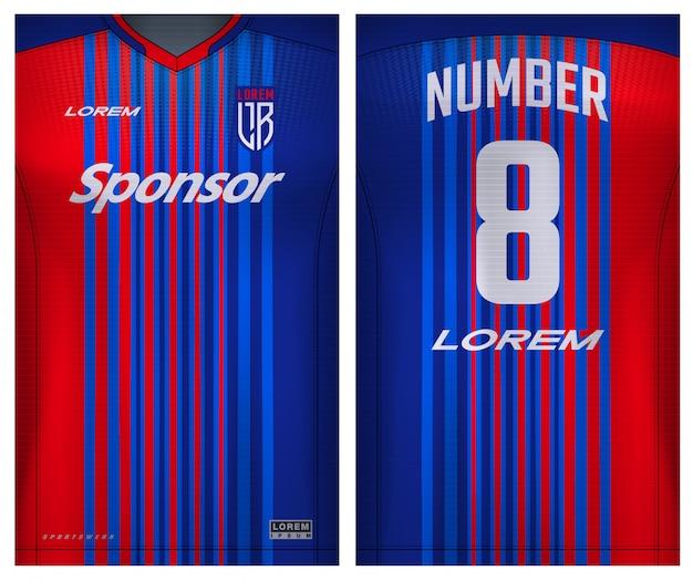 Tejido textil para camiseta deportiva, camiseta de fútbol para club de fútbol. vista frontal y posterior uniforme.