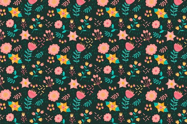 Tejido textil ditsy flores de colores de fondo