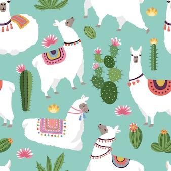 Tejido textil de patrones sin fisuras con ilustraciones de llama y cactus. vector sin patrón de alpaca, cactus verde