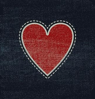 Tela de blue jeans con corazón para san valentín