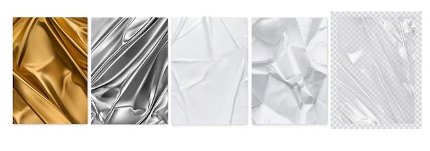 Tela dorada, papel de plata, papel blanco, película de plástico transparente.