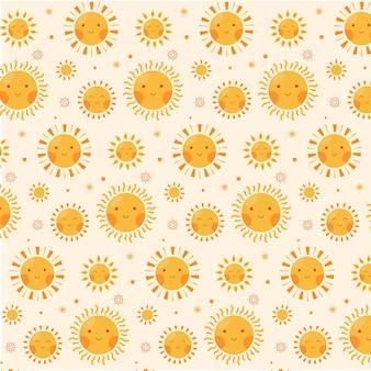 Tela con estampado de sol de diseño plano