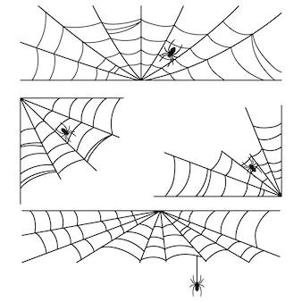 Telaraña de halloween con marcos de araña y esquinas conjunto aislado en blanco.