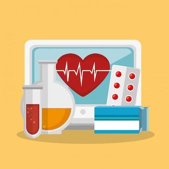 Tele medicina en línea con escritorio