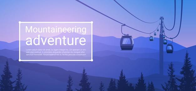Teleférico, transporte, cuerda, camino sobre mountain hill, fondo de la naturaleza, banner con copia espacio