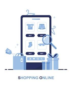 Teléfono con catálogo de tienda online con ropa para búsqueda de productos en la página. azul
