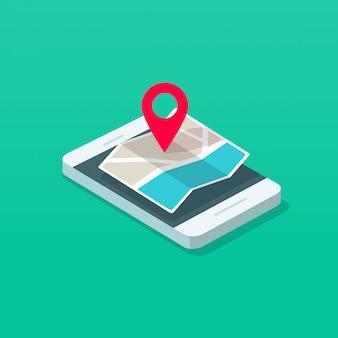 Teléfono celular o teléfono móvil y puntero del mapa destino isométrico