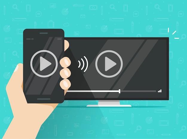 Teléfono conectado a transmisión de tv y tecnología móvil para ver contenido de video
