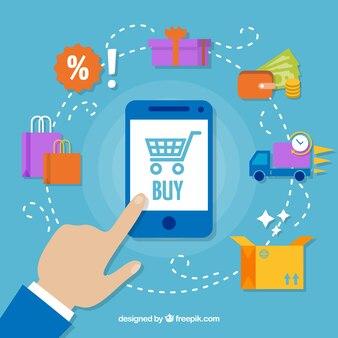 Teléfono, dedo e iconos de compras con diseño plano vector gratuito