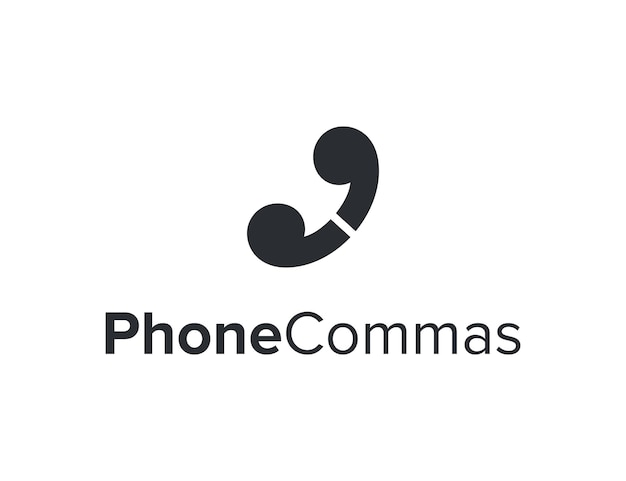 Teléfono con dos comas, simple, elegante, creativo, geométrico, moderno, logotipo, diseño
