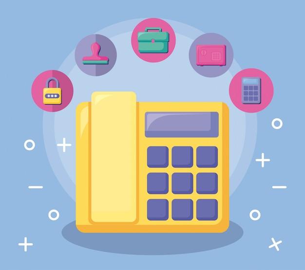 Teléfono económico y financiero con conjunto de iconos.