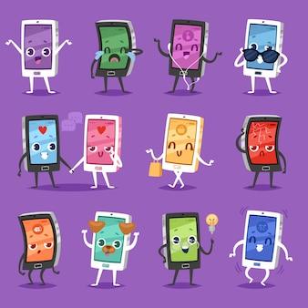 Teléfono emoji gadget carácter smartphone o tableta con ilustración de expresión facial conjunto emocional de dispositivo digital teléfono celular o teléfono móvil emoción con ojos y sonrisa en el fondo
