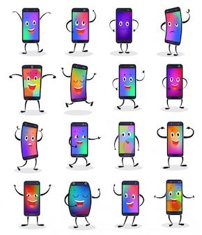 Teléfono emojji vector smartphone emoticon personaje y teléfono móvil o expresión celular