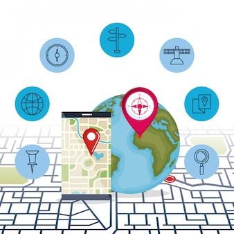 Teléfono inteligente con aplicación de navegación gps