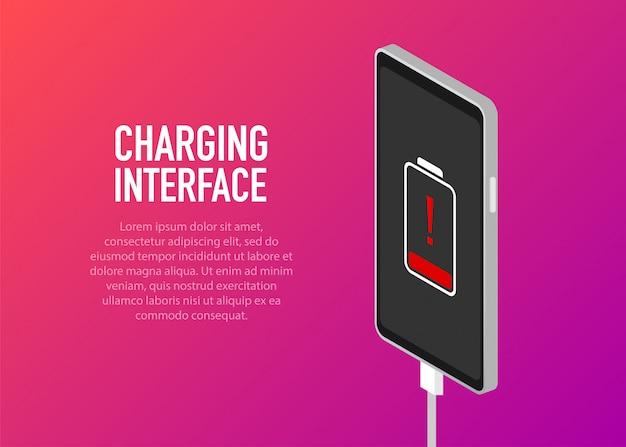 Teléfono inteligente con batería descargada y completamente cargada
