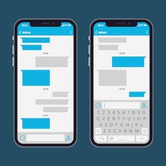 Teléfono inteligente con burbujas de mensaje de texto y teclados vector plantilla