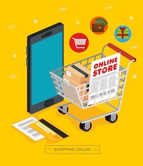 Teléfono inteligente y carrito de compras para tienda en línea