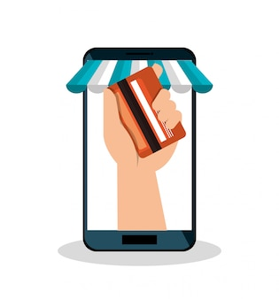 Teléfono inteligente de compras de comercio electrónico aislado