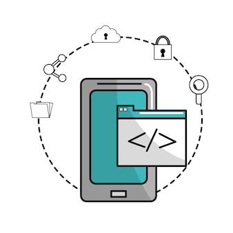 Teléfono inteligente con datos de documentos y servicio de iconos
