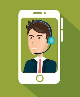 Teléfono inteligente con diseño de ilustración de vector de call center de agente