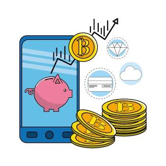 Teléfono inteligente con moneda de bitcoin e iconos digitales