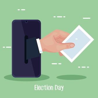 Teléfono inteligente del día de las elecciones con diseño de papel de voto de mano, presidente del gobierno y tema de la campaña
