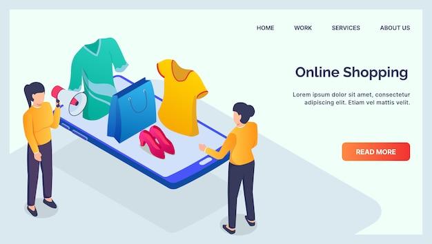 Teléfono inteligente para dispositivos móviles de compras en línea para la página de inicio de la plantilla del sitio web con plano isométrico moderno