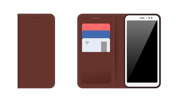 Teléfono inteligente para dispositivos móviles con estuche de cuero cosido marrón abierto y cerrado, tarjetas bancarias de plástico en