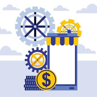 Teléfono inteligente engrana dinero monedas negocio en línea