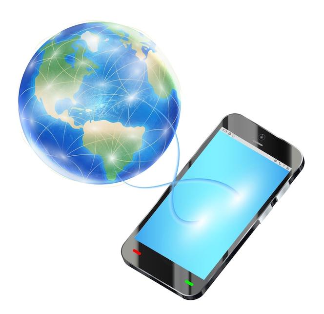 Teléfono inteligente enviar datos a internet en todo el mundo