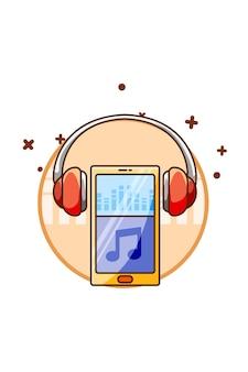 Teléfono inteligente con icono de auriculares ilustración de dibujos animados de música