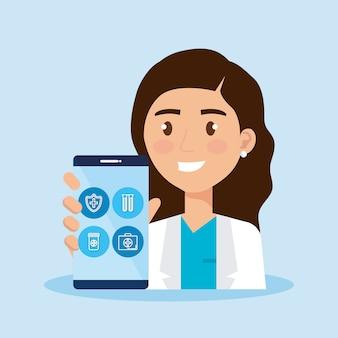 Teléfono inteligente con iconos de médico y telemedicina