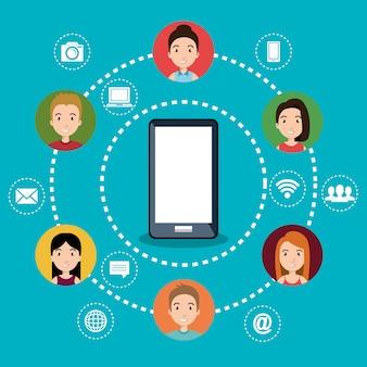 Teléfono inteligente con iconos de redes sociales