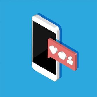 Teléfono inteligente isométrica con iconos de notificaciones de redes sociales. mensaje de chat 3d, como, corazón, comentario. ilustración aislada sobre fondo de color.
