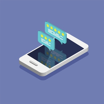 Teléfono inteligente isométrico con tasa de comentarios en la pantalla.