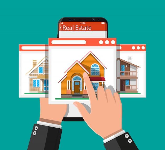 Teléfono inteligente móvil con aplicación inmobiliaria