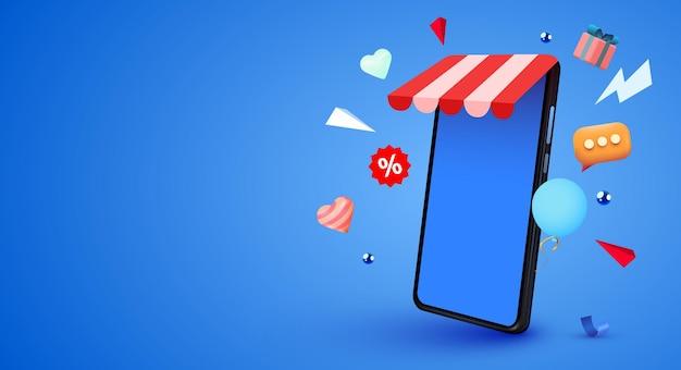 Teléfono inteligente móvil con concepto de compras en línea de la aplicación shopp