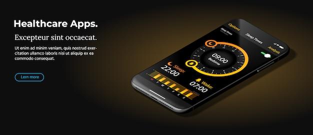 El teléfono inteligente negro moderno se encuentra sobre una superficie lisa de color marrón oscuro.