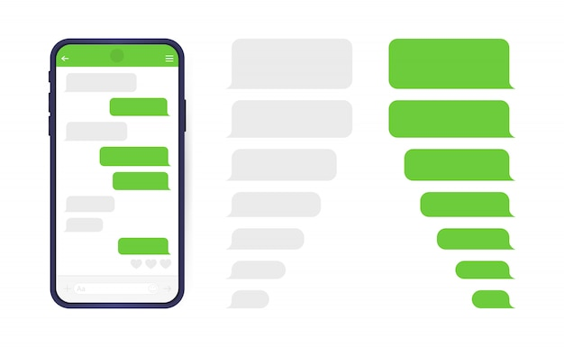 Teléfono inteligente con pantalla de chat messenger. burbujas de plantilla de sms para componer diálogos.