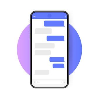 Teléfono inteligente con pantalla de chat messenger. estilo plano moderno